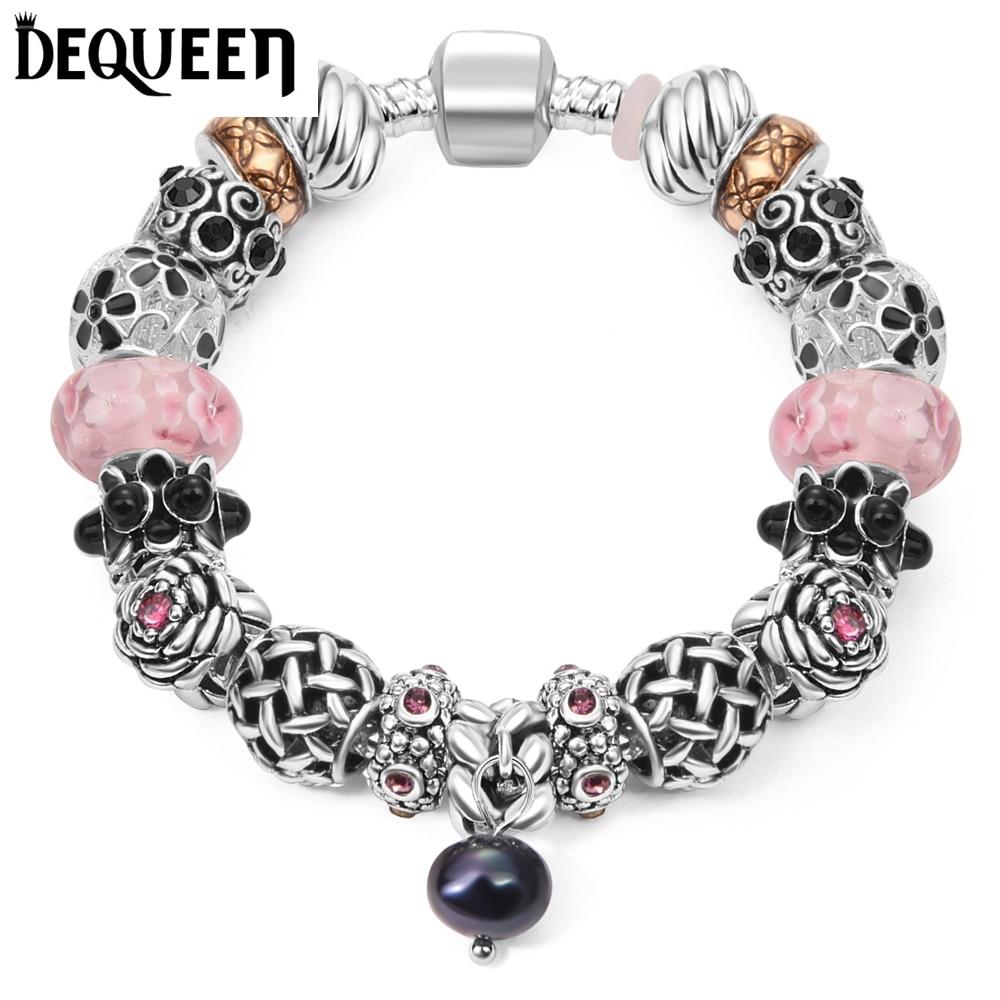 Dequeen Crystal Star Charms Original Women Glass Beads Charm  Bracelet&bangle Fit Charm Bracelet(china (
