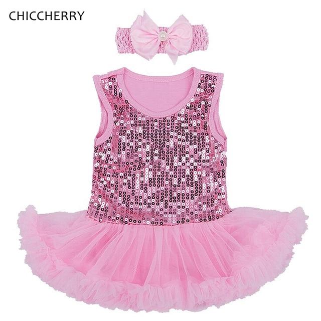 48bf1bbc721ec Pink Sequins 1 Year Birthday Dress Infant Lace Tutu Headband Set Baby Girl  Valentine Dresses Vestido