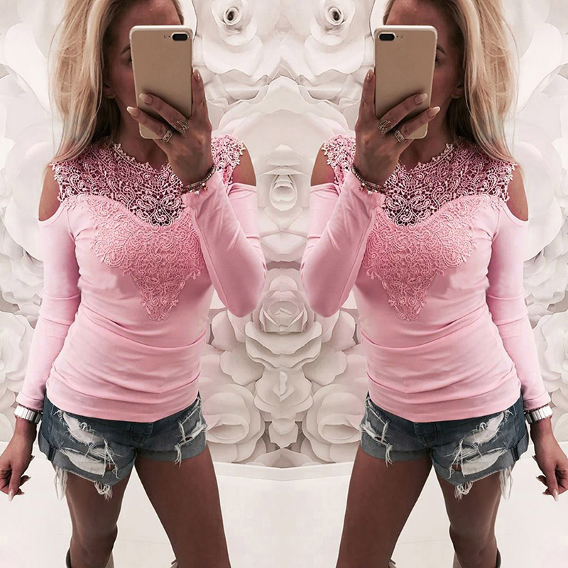 2018 Sexy Women Spring Lace T-Shirt Long Sleeve O-Neck Blusas Ladies Off Shoulder Slim Patchwork Womens Tops