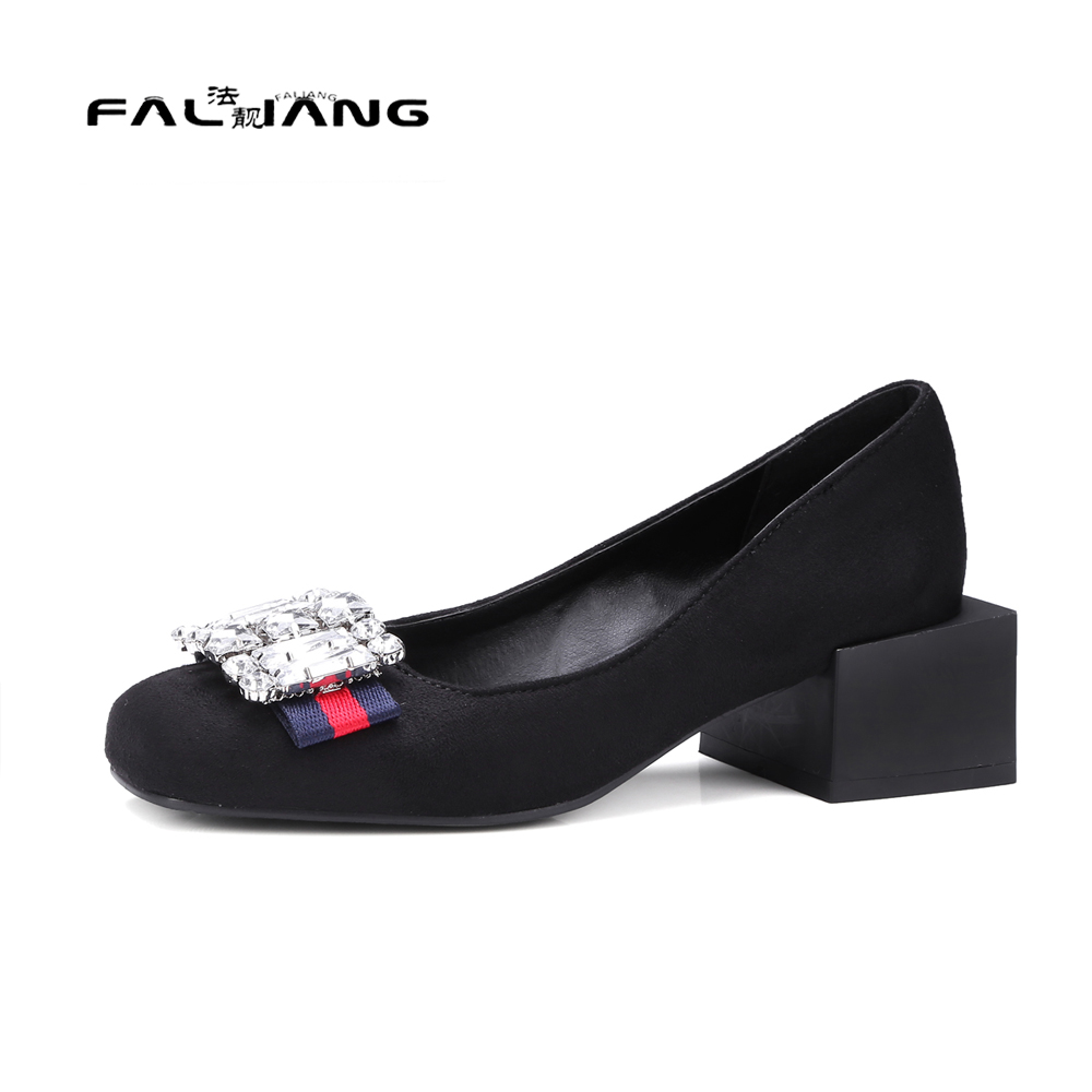 цены  Big Size 11 12 13 14 15 16 17 Spring/Autumn Elegant Square Toe Crystal Casual Square heel Women's Shoes Pumps Woman For Women