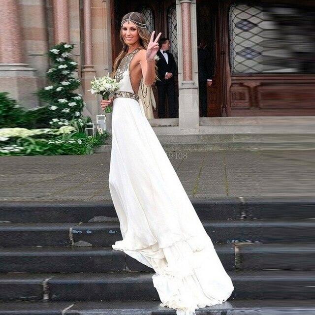 Strand Brautkleider Neckholder Brautkleid 2015 Weg Schulter