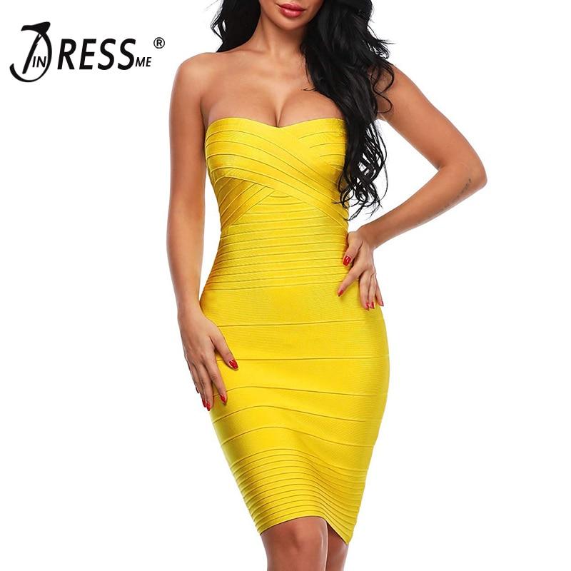 INDRESSME Elegant Women Bandage Party Dress Sexy Strapless S