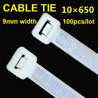 100pcs/pack 10*650mm Nylon Cable Ties Self locking Latching White Black Computer Line Bundles For Wires Tidy