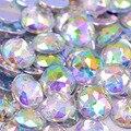 500 unids 10mm Crystal AB Rhinestones Cose en Acrílico Posterior Plana Cristales Piedras Piedras Strass Redondo Para La Ropa Vestido Decoraciones