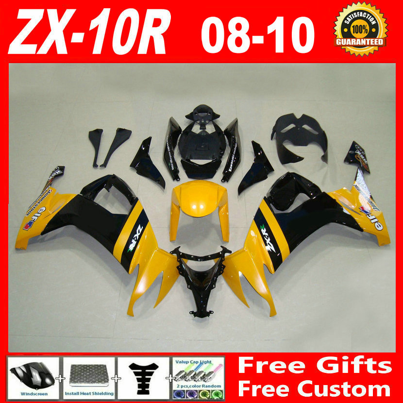 ABS plastic yellow black motobike parts for Kawasaki 2008 2009 2010 ZX 10R fairings 08 09 10 ninja zx10r fairing set TGH86