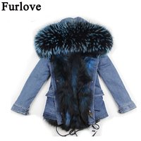 Furlove fashion cold winter outwear 2017 new natural fox real fox fur lined parka with natural big size raccoon fur collar trim