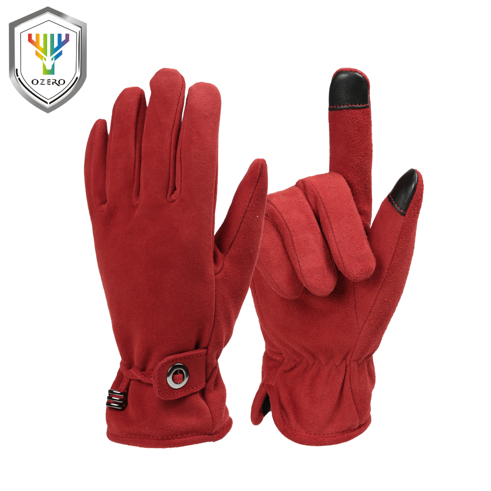 OZERO Women Warm Gloves Winter Girls Deerskin Work Driver Windproof Ladies Gifts Touch Screen Gloves Working Racing Gloves 8013 ozero men s work gloves touch screen driver sports winter outdoor warm windproof waterproof below zero gloves for men women 9010