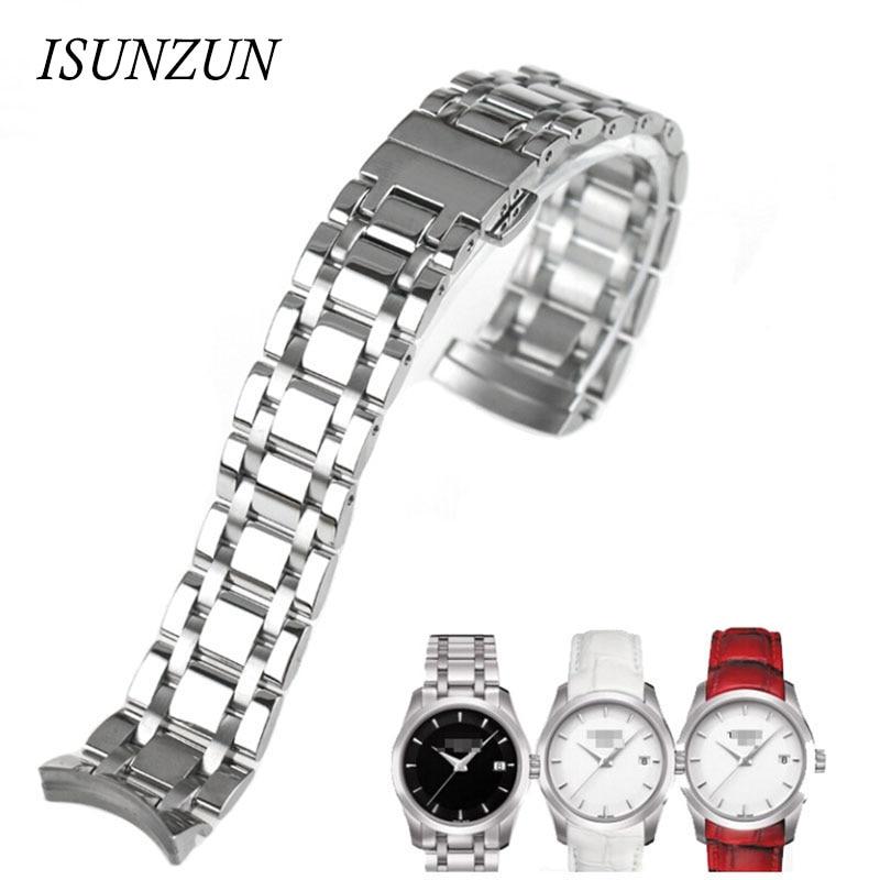 ФОТО ISUNZUN Women Watch Band For Tissot  T035210A T035.207 Top Quality Women Steel Watch Straps 18MM Watchbands Watches Accessories