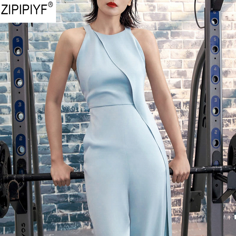 High Quality 2018 New Summer Fashion Streetwear Elegant O neck Sleeveless Long Trousers Sexy Sheath Tank Jumpsuits C2506-in Jumpsuits from Women's Clothing    1