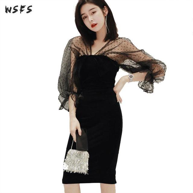de5fd57d965e Black Mesh Dot Dress Vneck Puff Sleeve Backless Womes Dresses 2019 Vintage  Elegant Sexy Party Club Ladies Midi Pencil Wrap Dress