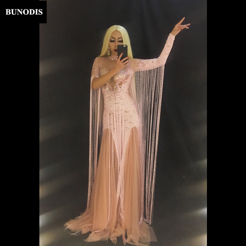 Performance Chanteur Costume Longue Gland Blanc Porter Bu115 Bu115 Sexy Jupe 1 Rose bu115 Femmes Nightclub Stage Danseur Cristaux Mousseux 4OPAnqc
