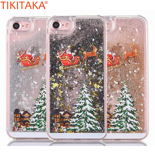 santa claus elk case for iphone 7 7 plus case christmas quicksand liquid giltter phone case