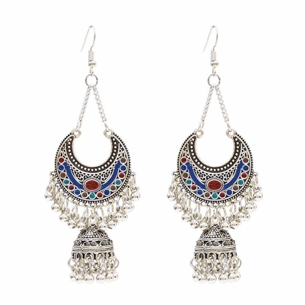 Afghanistan India Birdcage Jhumka Earrings Boho Vintage Traditional Silver Earring Indian Egypt Thailand Pakistan Women Jewelry