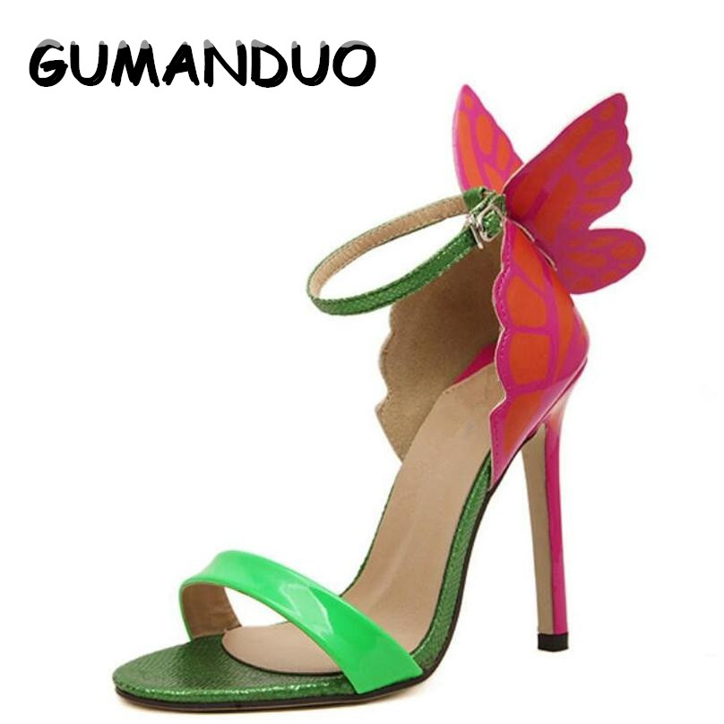 GUMANDUO New Explosion Models NEW Women Sophia Webster Colorful Butterfly Heeled Sandals Pumps 11.5 cm Thin Heel Peep Toe Shoes webster s new worldtm 575 german verbs