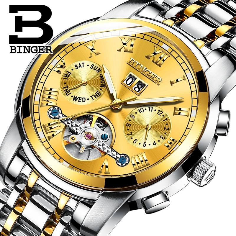 Luxury Gold Watch Men Switzerland BINGER Tourbillon Mechanical watches Self wind Calendar Sapphire Luminous Automatic Watch