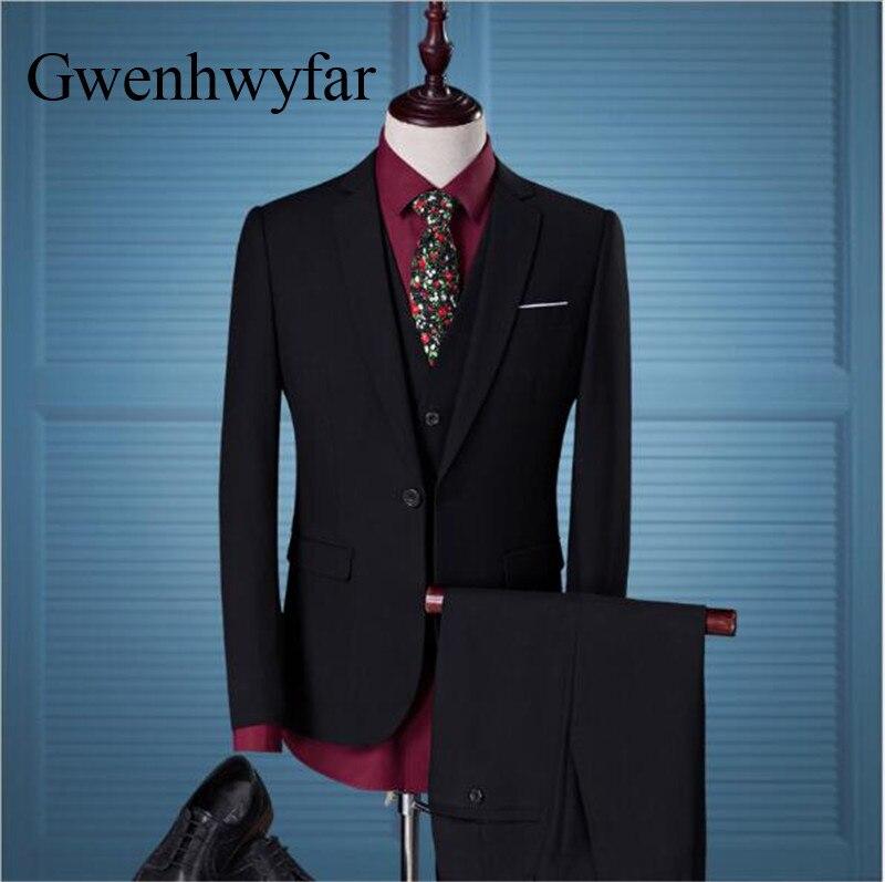 Gwenhwyfar 2018 Black Men Suits Young Wedding Groom Tuxedos Formal ...