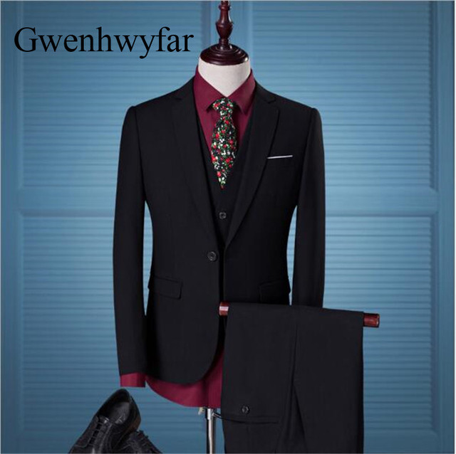 Gwenhwyfar 2018 Black Men Suits Young Wedding Groom Tuxedos Formal ...