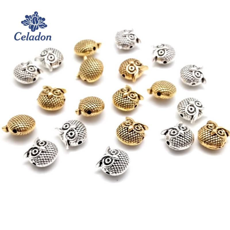 20Pcs Antiqued Silver Tone Animal Owl Birds Spacer Beads Charms 8x10mm