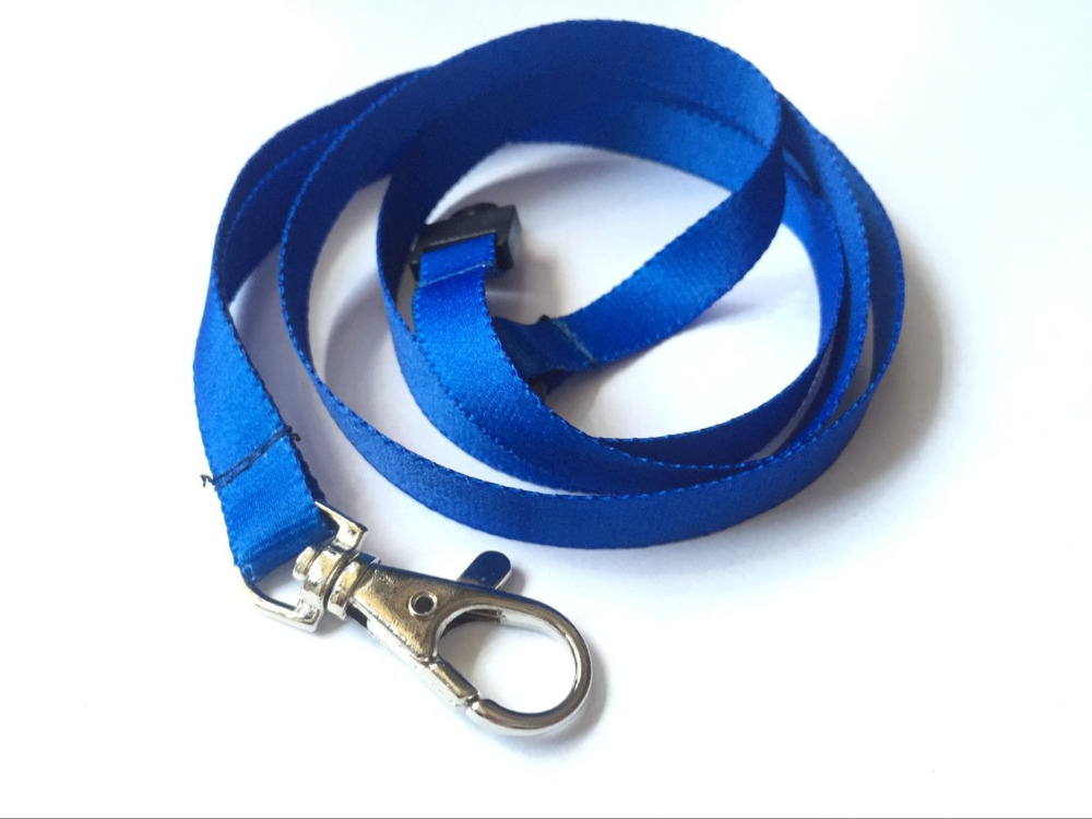 High Quality Polyester Lanyard Neck Strap With Safety Lock For ID Name Badge Holder For Key Holder Blue Color 1pcs