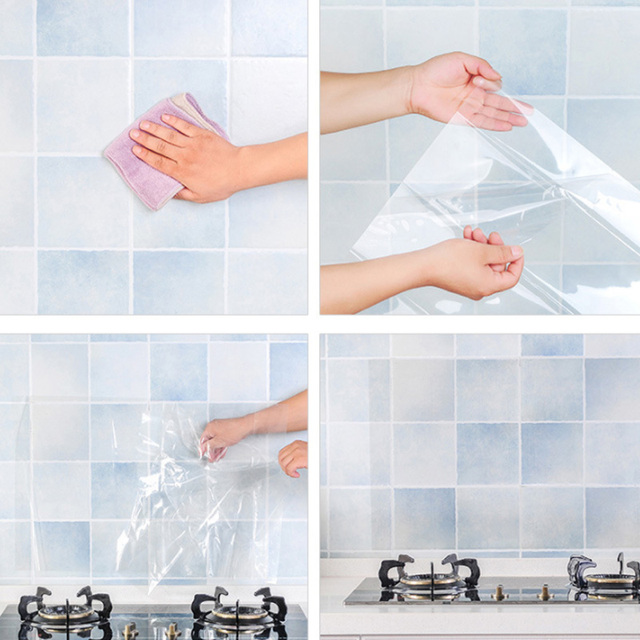 Foil Waterproof Self Adhesive High Temperature Kitchen Anti oil transparent Wall Sticker Bathroom Protection accessories