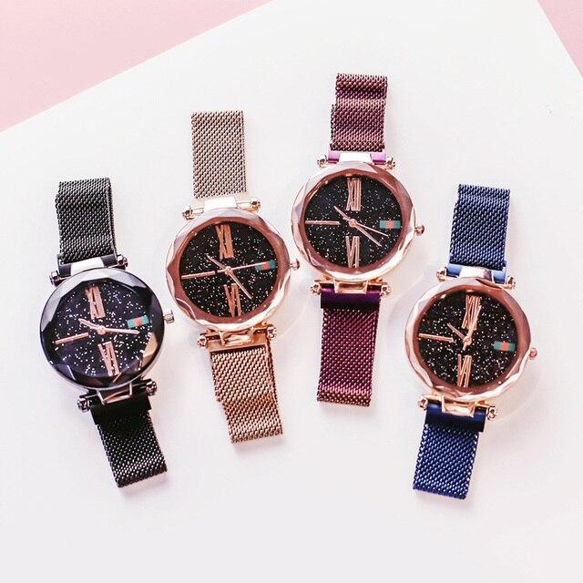 Luxury Ladies Starry Sky Watch Rose Gold Women Bracelet Watches Magnetic Bukle Mesh Fashion Casual Female Waterproof Clock Reloj 5