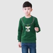 Green Boy T Shirt Fashion Cotton Fashion 2016 Children Tees Brand Character Boy Tops Long Sleeve Children Clothing Green T Shirt