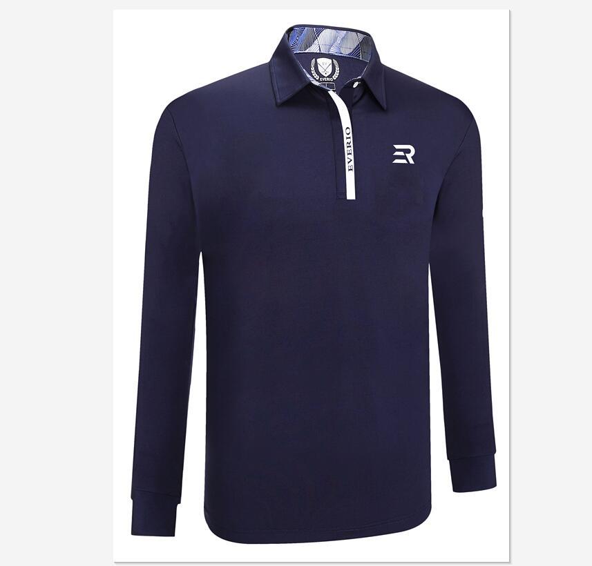 2019 automne hiver hommes à manches longues revers golf T-shirt de haute qualité doux respirant formation solide couleur golf sport chemises