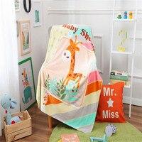 Deep Coffee Cartoon Giraffe Pattern Cartoon Fleece Blanket Double Blanket Baby Blankets Child Blanket Warm In Winter 100x140cm