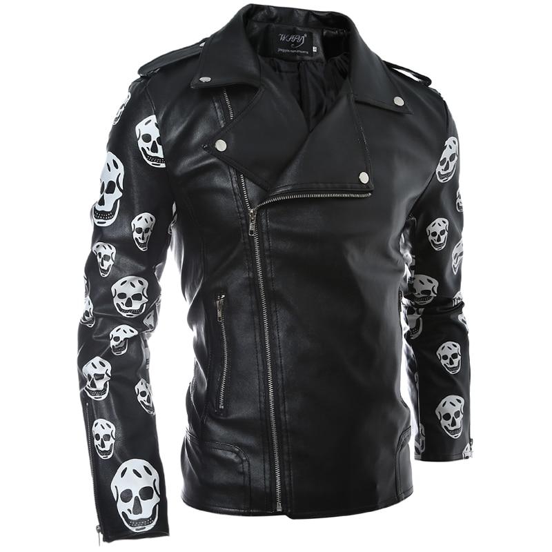 Fashion Style Mens Faux Fux Leather Jacket Skulls Flower Black Side Zipper Designs Hip Hop Slim ...