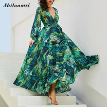 цена Vintage Long Sleeve Dress Green Tropical Beach Vintage Maxi Dresses Boho Casual V Neck Belt Lace Up Leaf Pattern Plus Size Dress онлайн в 2017 году