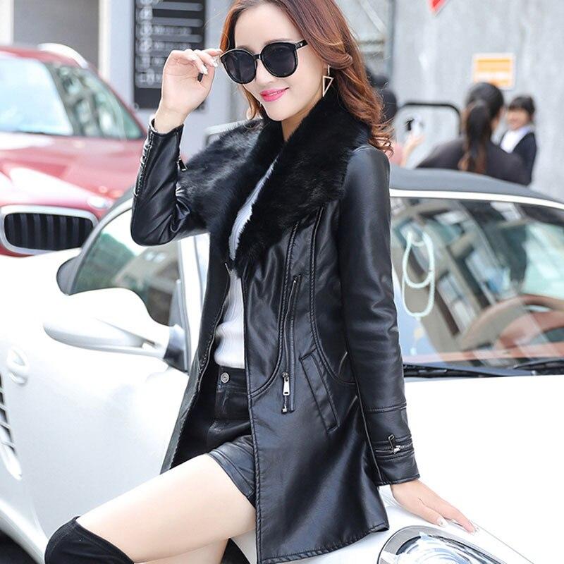 Long gris Veste Et Pleine Mode Faux Cuir Pardessus Hiver Slim Vestes Noir En Poches Occasionnelle marron Femmes Moto Manteaux IUBBw1x