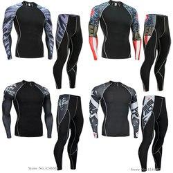 2018 новые мужские сжатии работает тренировки колготки Фитнес тренировочный костюм одежда с длинным рукавом рубашки спортивный костюм rashgard ...