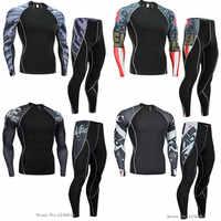 2018 NEUE Mens Compression Set Laufhose Workout Fitness Training Trainingsanzug Langen Ärmeln Shirts Sport Anzug rashgard kit 4xl