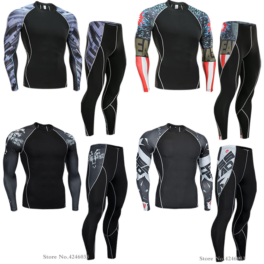 2018 NEW Mens Compression Set Running Tights Workout Fitness Training Tracksuit Long Sleeves Shirts Sport Suit rashgard kit 4xl
