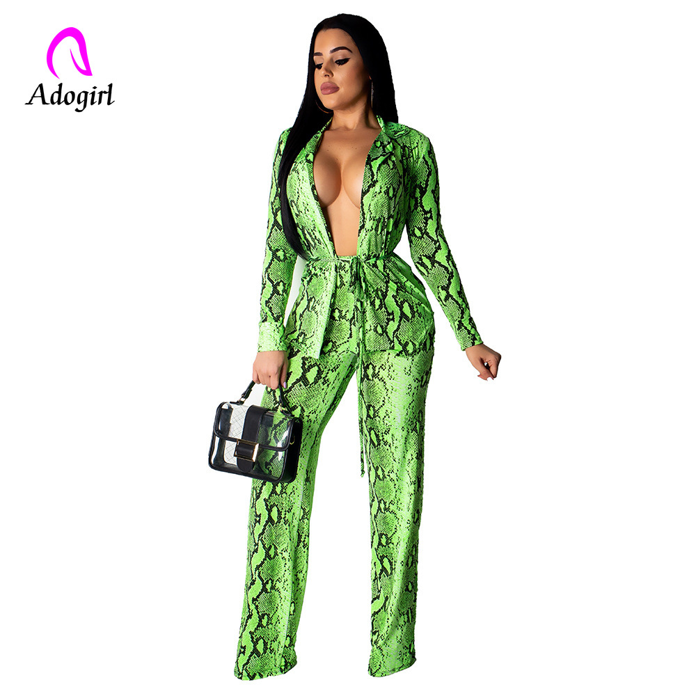 Adogirl New Women Snakeskin Print 2 Piece Set Open Stitch Long Sleeve Top Coat Straight Pants Suits Sexy Outfit Tracksuit Outfit