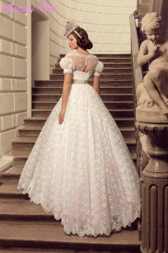 Vestido novia manga farol