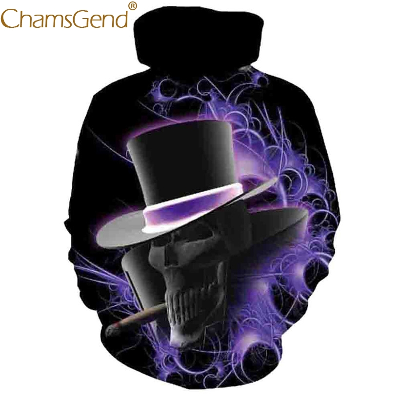 Chamsgend Hoodies Women Men 3D Sweatshirt Magician SKULL Print Hip Hop Pullover Hoodie Shirt Blouse Girl Boy Tops 80109