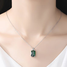 Jewelry Palace Silver Necklaces Women Emerald Cut Created Emerald Emerald Pendant Necklace Micro-inlaid Square Necklace Jewelry(China)