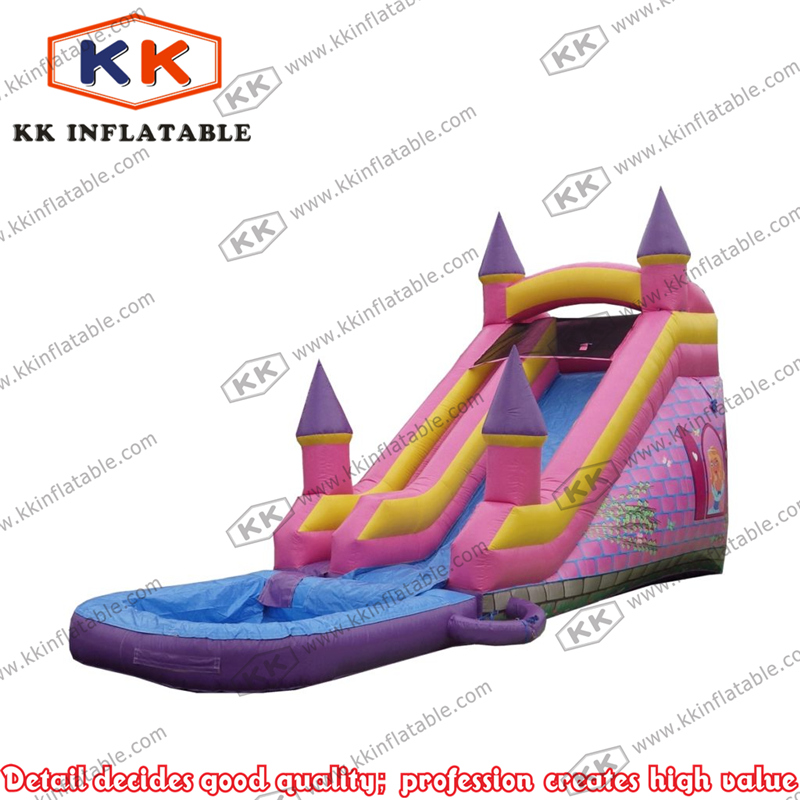 Business type portable pink castle inflatable trampoline slide with pool for rental party
