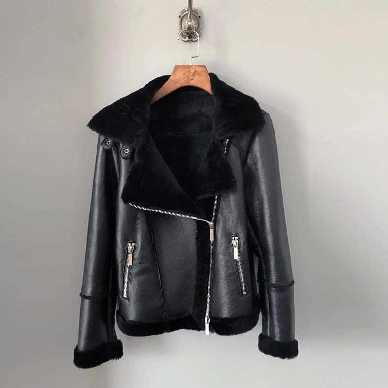 287be7e9b TEXIWAS Winter Warm Shearling One Fur Genuine Leather jacket Women Thicken  Outerwear top pilot bomber jacket Coat female
