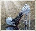 Mulheres brancas e negras spikes saltos de strass festa à noite sapatos de salto alto com picos picos de cristal sapatos plataformas de louco
