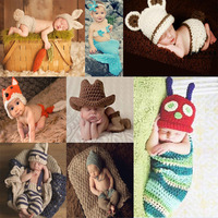 Lovely Baby Newborn Animals Crochet By Boy Girls Outfitsbaby Costume Photography Props Knitting Hat Infant Baby