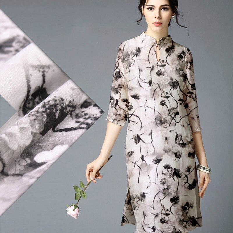 abca1371b 2016 أحدث طابعة حبر رقمية الحرير الكتان المخلوطة الأقمشة اللباس قميص الكتان  الأقمشة الجملة عالية الجودة ملابس حريرية