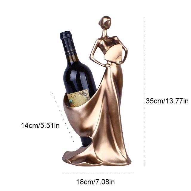Creative Home Decorative Figurines Ornaments Modern Minimalist Blue Take Fan Beauty Wine Rack Decoration Creative Wedding Craft 6