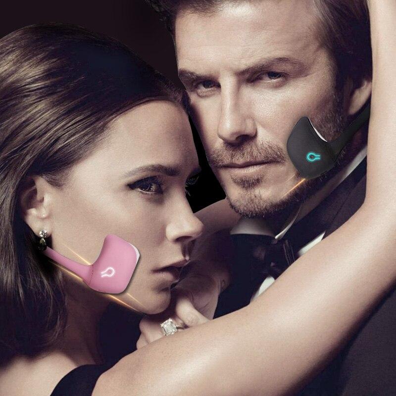 Nueva tecnología negra EMS adelgazante cara 3D Delgado masaje facial dispositivo de elevación inteligente V ajuste de la cara masajeador de relajación-in Masaje y relajación from Belleza y salud    1