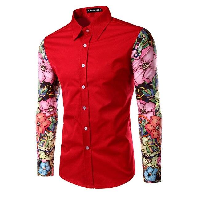 Floral Homens Camisa de Manga Longa Patchwork Turn-down Collar Meninos Moda Camisas de Vestido Masculino 2016 Camisa Ocasional Magro Dos Homens Cópia da flor