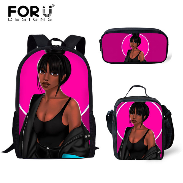 FORUDESIGNS Girls School Bags African Black Girls Hairstyle School Backpack Set Scool Bag For Girl Kids Girl Backpack Junior Bag 2