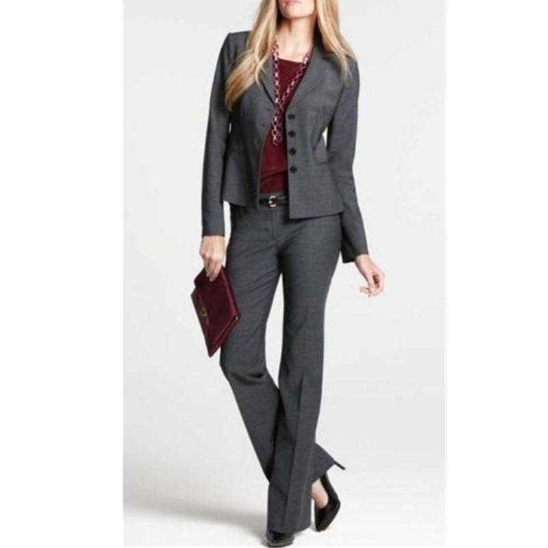 Women work clothes Grey Women Ladies Hand Tailored Business Office ...