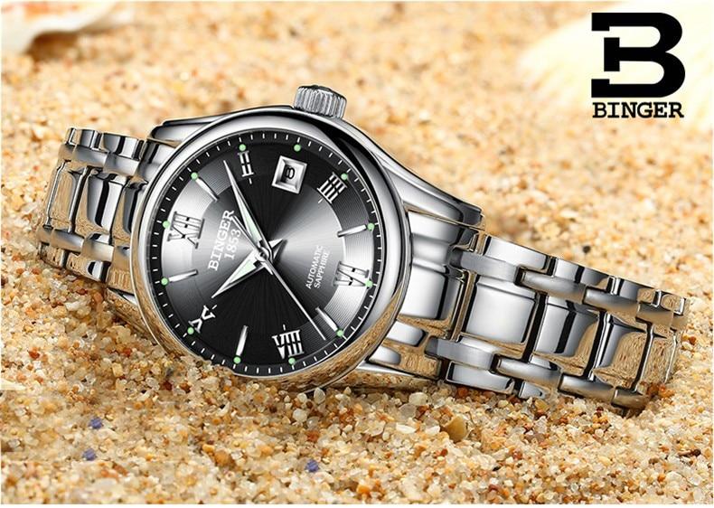 BINGER Schweiz Damen Automatische Selbst Wind Uhren Kleid Uhr Frauen Uhren Edelstahl Silber Mechanische Uhr Frauen-in Damenuhren aus Uhren bei  Gruppe 3