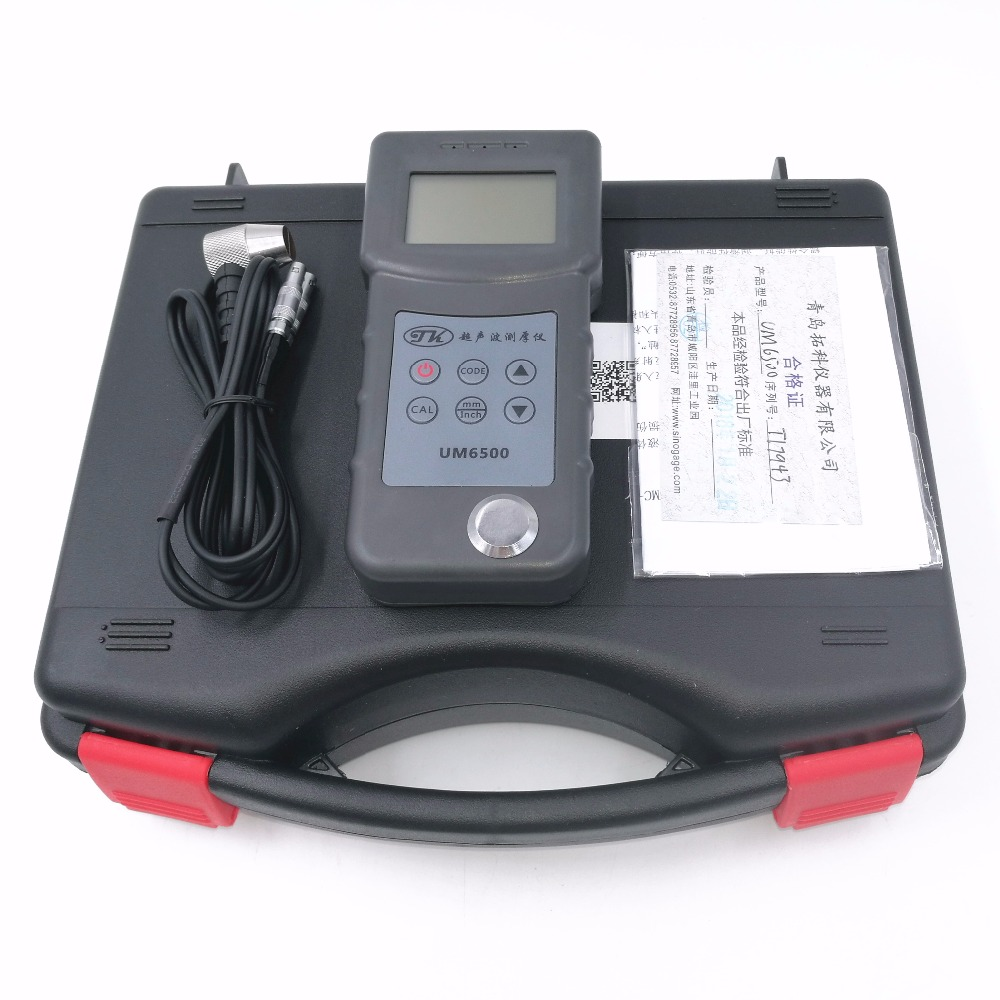 цена на UM6500 Portable Digital Ultrasonic Thickness Gauge Meter 1.0-245mm,0.05-8inch (in Steel) 0.1mm